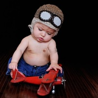 Toddlers Warm Cap Hat Beanie Cool Crochet Baby Pilot Bomber Hat Crochet Aviator Hat Aviator Googles
