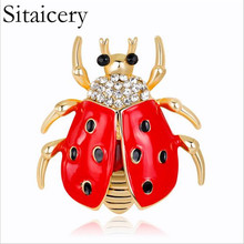 Sitaicery High-grade Handmade Oil Insect Brooch Fashion Animal Rhinestone Female Jewelry Ladybug Accessories