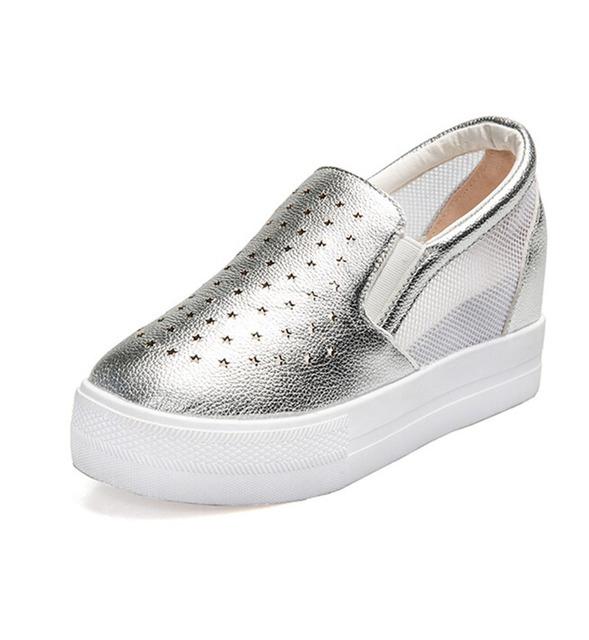 2017 Nuevas mujeres de la Moda Mocasines Casuales Zapatos de tacón alto de Nueva Malla De Verano Gruesas Sandalias de Tacón de Cuña Corteza. DFGD-8086