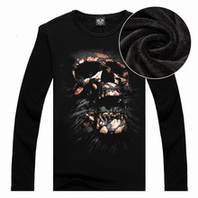 Funny Cool Long Sleeved Men s T shirts Cotton 3D Skull Print Thicken Cashmere Tops Tees