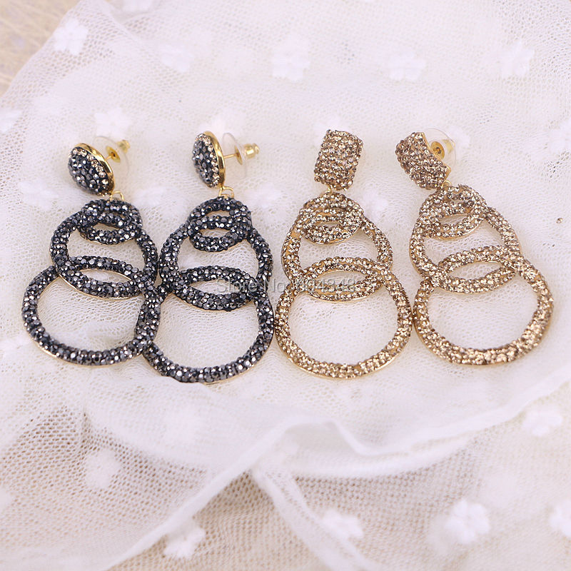 5Pairs ZYZ156 8352 Pave Crystal Zircon Stone Drop Earrings Metal Gold Color Three Circle Dangle Earrings