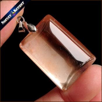 Collar de joyería de mujer a la moda raro Piedra Natural pelo de conejo rojo Cuarzo rutilado cristal pulido colgante YS125