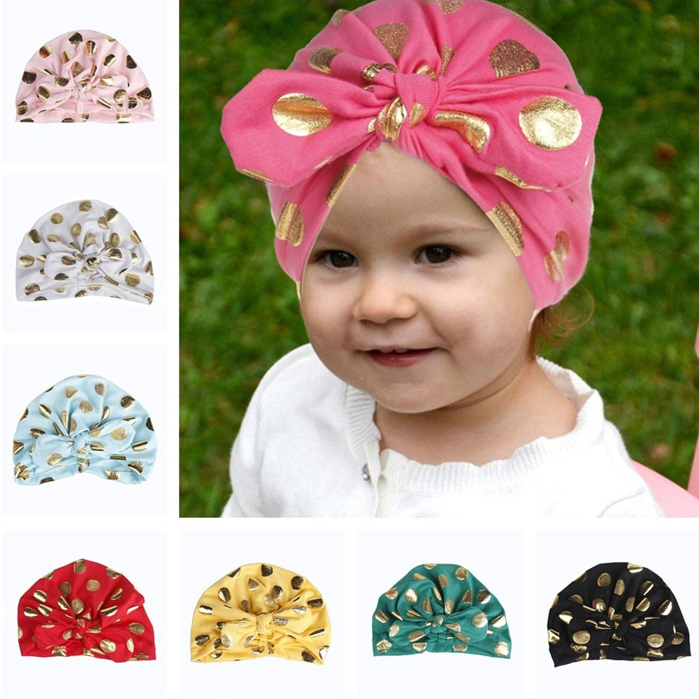 Hospital-Cap Hats Beanie-Hat Skullies Knit Girls Cotton Children with 1pcs Dot Bow Soft