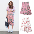 Cactus floral print pattern irregular Package hip skirt Ruffles Fishtail skirt  BSQ-9-49