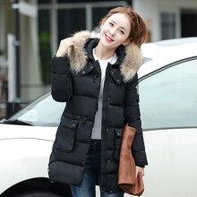 Новое прибытие женщин зимние пальто 5 цвета длинный отрезок с капюшоном сгущает меховым воротником тонкий куртки теплый корейской версии мода пальто