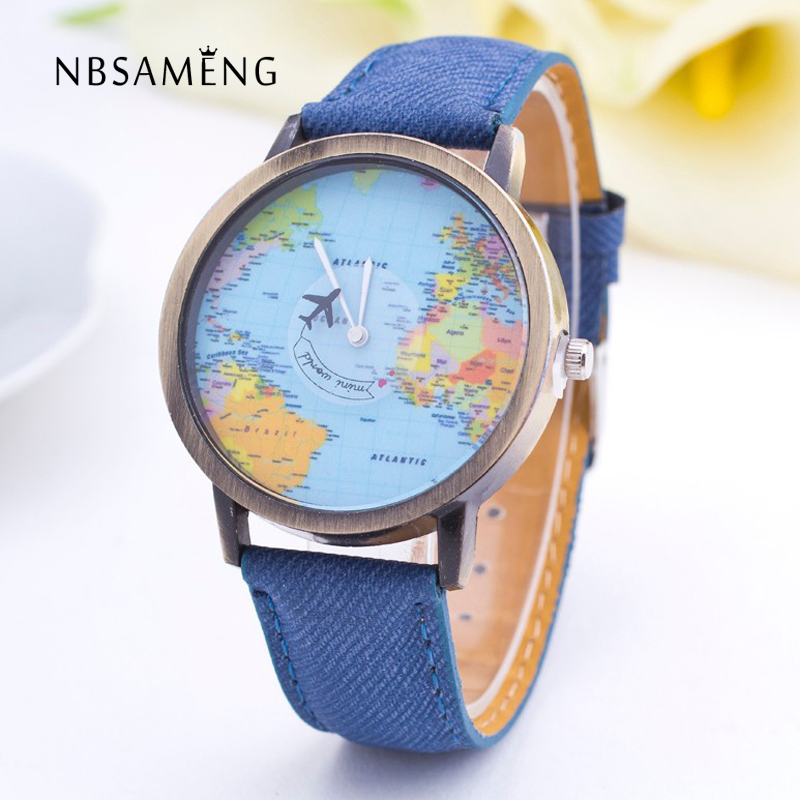 NBSAMENG World Map Watch Fashion Casual Design Clock Women Men Airplane Denim Fabric Quartz-Watch New Unisex Watch image