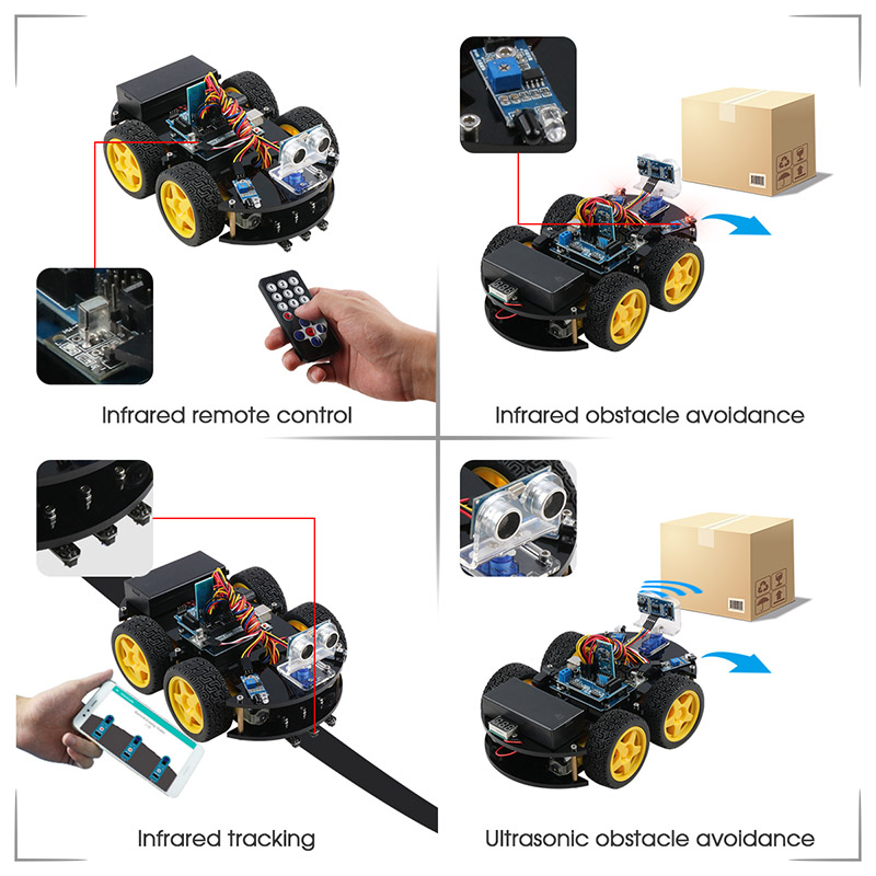 Image 2 - Keywish 4WD Robot Cars for Arduino Starter Kit Smart Car APP RC Robotics Learning Kit Educational STEM Toy Kid Lesson+Video+Code-in Integrated Circuits from Electronic Components & Supplies