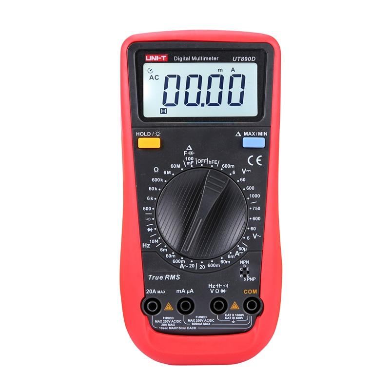 UNI-T ut890d multímetro digital verdadeiro rms ac/dc multímetro de freqüência ammeter multímetro multímetro multitester