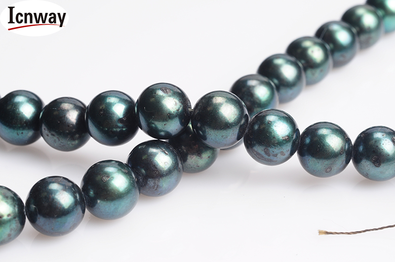 Freeshipping Natural Round Aa Black freshwater Pearl 12-13mm 15inches Diy Necklace Wholesale grey Peacock Green And Blue