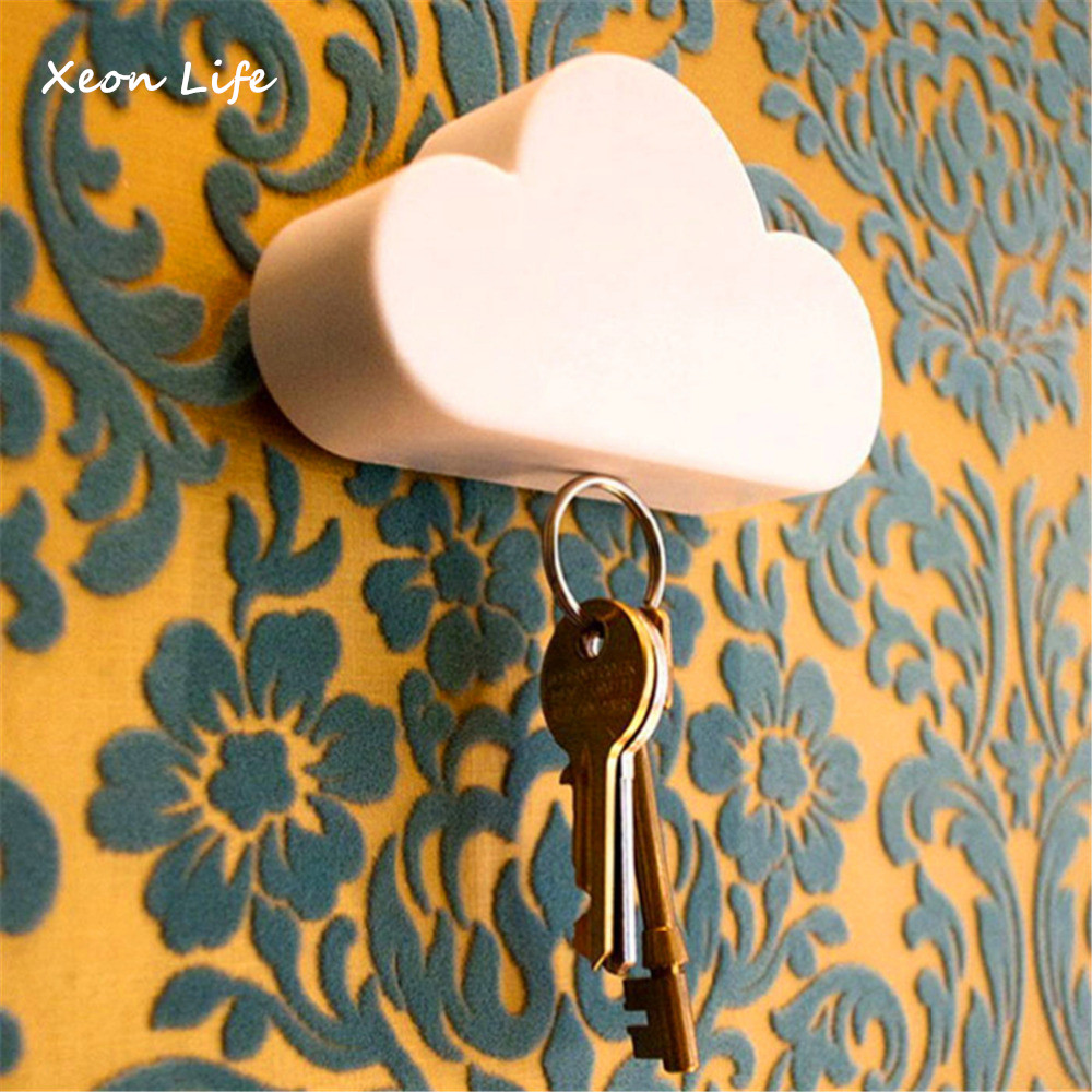 Hot Selling New 1pc 10*5.8*3cm Creative Novelty Home Storage Holder White Cloud Shape Magnetic Magnets Key Holder