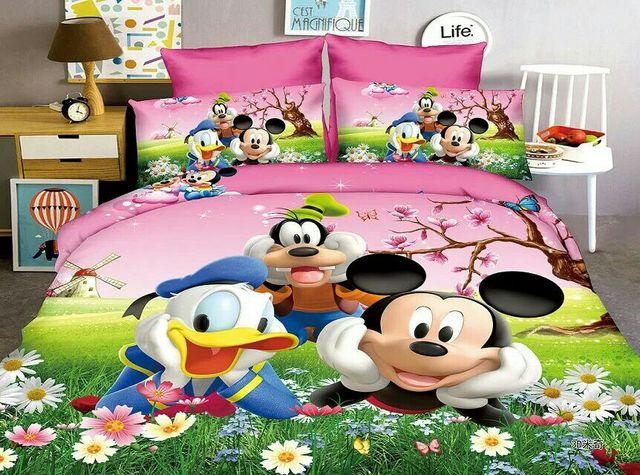 0088179b67f18 Mickey Mouse Donald canard ensemble de literie enfants bébé chambre décor  unique lits jumeaux taille draps