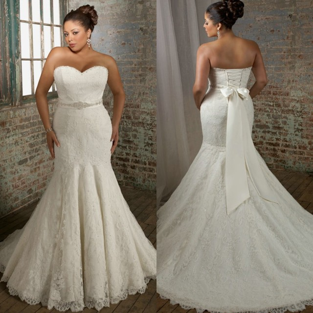 Ivory Lace Wedding Dresses Plus Size Mermaid vestido de noiva ...