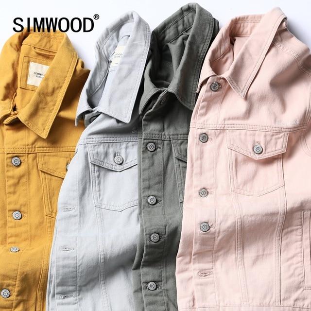 SIMWOOD Denim Jacket Men Fashion 100% Cotton Trucker Jackets Slim Fit Embroidery Chest Pocket 4 Colors Autumn Coats 180468