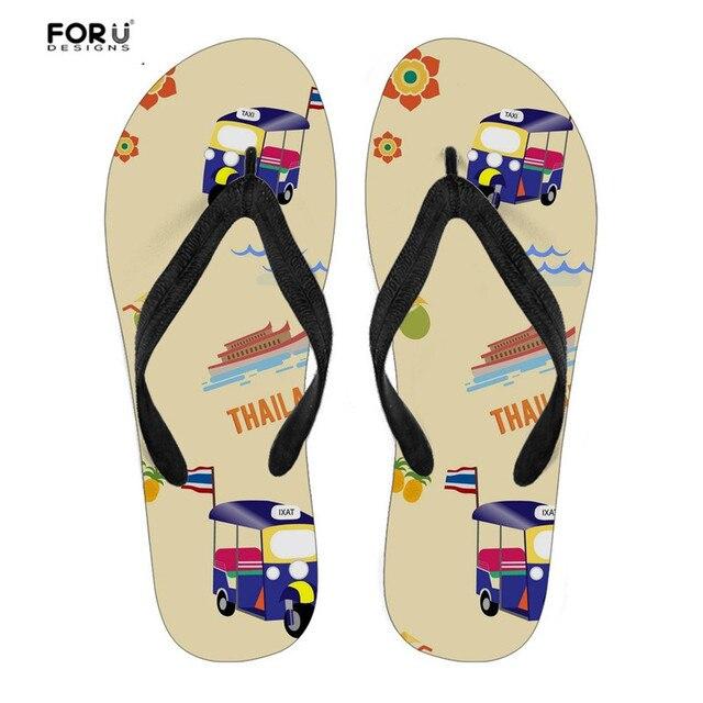 830b006fc138e7 FORUDESIGNS Women Summer Beach Slippers Taxi Car Thailand Pattern Solid Rubber  Flip Flops for Youth Girls Travel Light Sandals