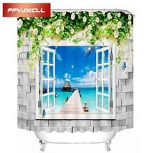 купить Beautiful Window Seaside Scenic Printing Polyester Fabric Waterproof Mildew Creative Bathroom Shower Curtain With 12pc Hook по цене 1167.51 рублей