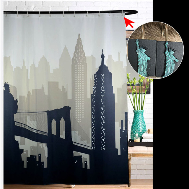 New York City Scape Fabric Shower Curtain Waterproof Bath With Statue Of Liberty Hooks Bathroom Products