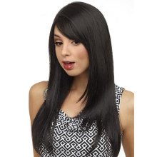 Long Bangs Wigs For Women 22 inch Heat Resistant Fiber Synthetic Black Wig Long Straight Hair Natural Color Wig Cosplay(China)