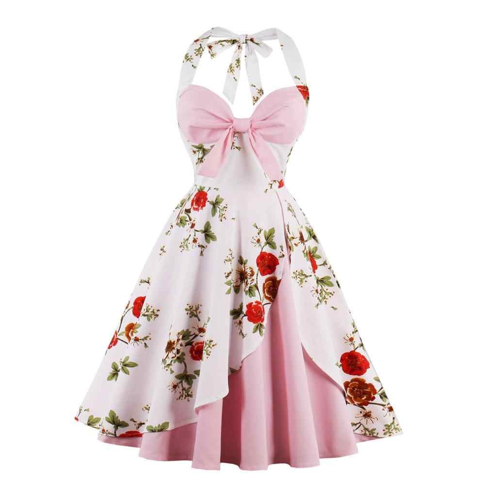 Винтажное летнее платье 1950 s 60 s рокабилли 2019 Сексуальное Женское Платье с бретелькой халат большого размера Ретро вечерние платья Vestidos