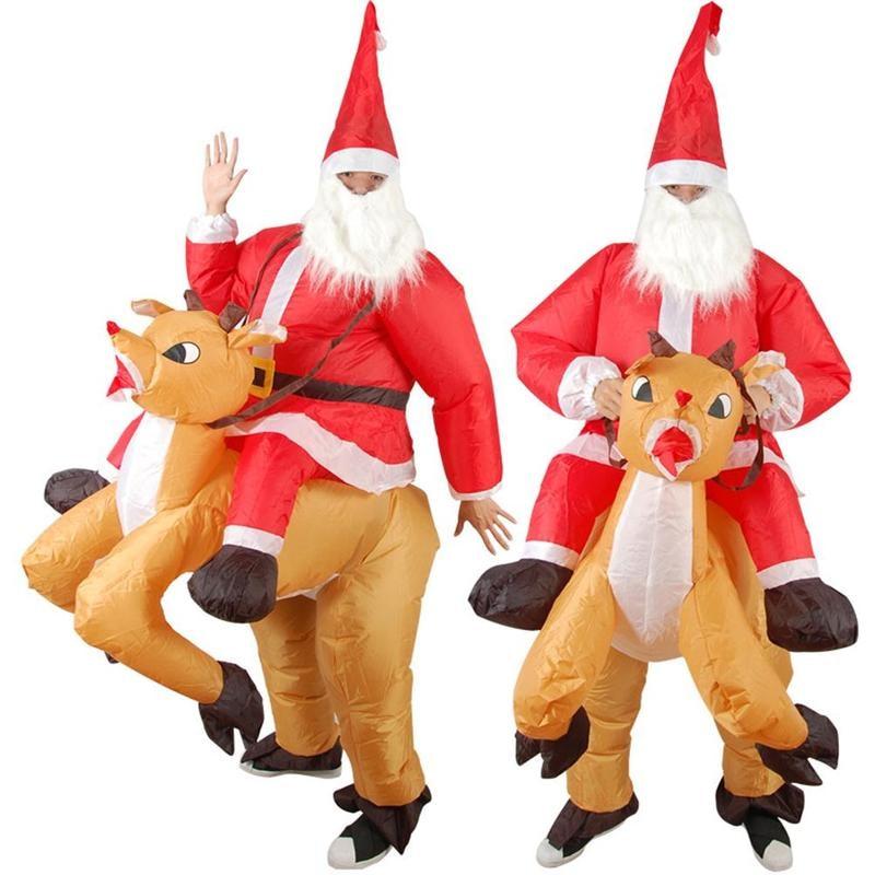 Nauwkeurig Kerst Show Kostuums Opblaasbare Rit Herten Kerstman Xmas Decor Jumpsuit Mounts Pak Kerst Nieuwjaar Party Spoof Props