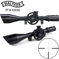 WALTHER FT 8 32X56 Hunting Riflescopes Mil Dot Reticle Large Side Wheel Parallax Adjustment Shooting Scope with Dovetail Rings