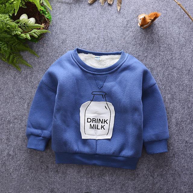 Bebê meninos inverno hoodies crianças o-pescoço dos desenhos animados manga comprida leite impresso t shirt da criança outwear quente crianças roupas de lã grossa