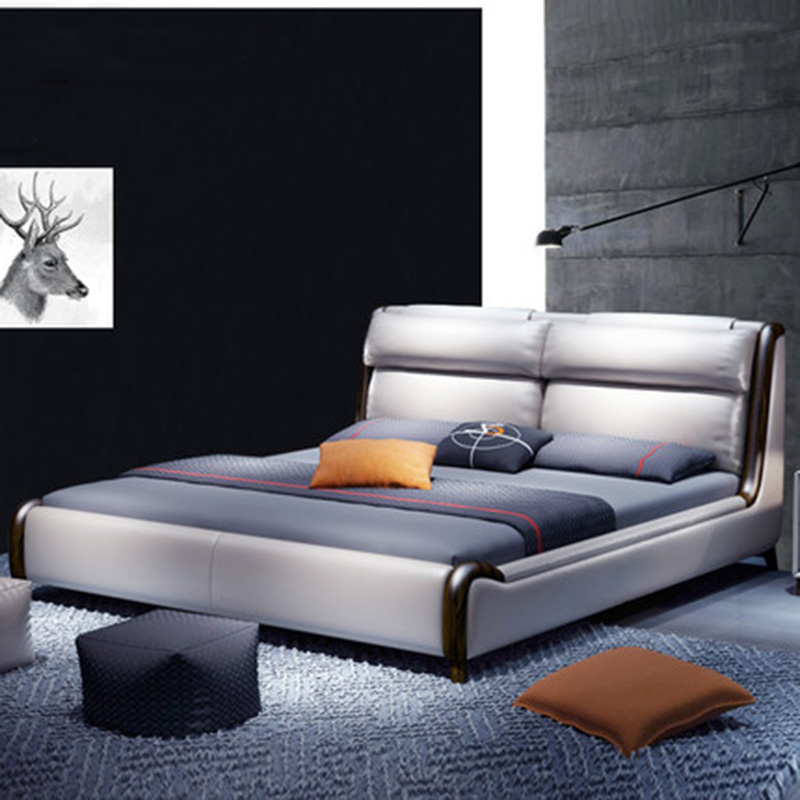 Simple odern Nordic Leather Double Wedding Leather Bed Furniture simple odern nordic leather double wedding leather bed furniture