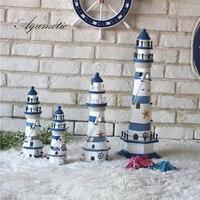 Aqumotic Wooden Lighthouse Model Kit Mediterrane Craft Big Holiday Gift Model Lighthouse Fishing Net Shell Decoration Cardboard