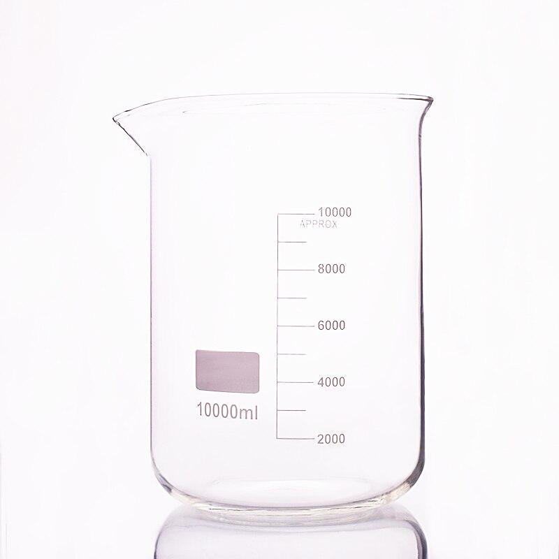 Bécher en forme basse, Capacité 10000 ml, diamètre Extérieur = 230mm, Hauteur = 330mm, laboratoire bécher