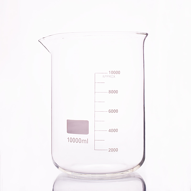 Beaker in low form,Capacity 10000ml,Outer diameter=230mm,Height=330mm,Laboratory beaker