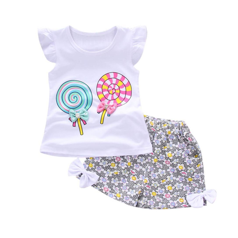 Newborn Baby Girls Summer Clothes Set Toddler Kids Baby Outfits Cotton Cute Lolly T-shirt Tops+Short Pants 2PCS Clothes Set 3pcs outfit infantil girls clothes toddler baby girl plaid ruffled tops kids girls denim shorts cute headband summer outfits set