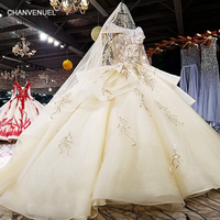 LS91470 2018 mother of the bride dress O neck cap sleeve ball gown champagne organza evening dress with long train and veil