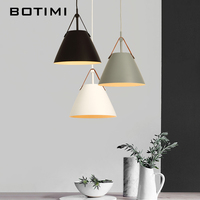 Botimi LED Pendant Lights E27 Hanging Kitchen Lamp Morden Dining Light With Metal Lampshade Bulbs Iron Suspension Lighting