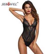 SEBOWEL Black Sleeveless Sheer Mesh Lace Bodysuit Woman Spaghetti Strap Transparent Body Top Clothes Female Hollow Out Bodysuits