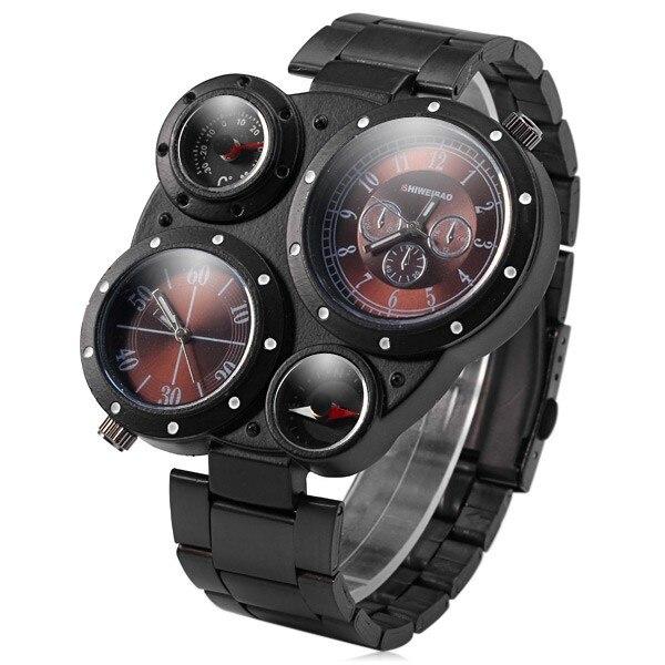 S hiweibaoทหารนาฬิกาหลายโซนเวลาเครื่องวัดอุณหภูมิควอตซ์เคลื่อนไหวกีฬานาฬิกาผู้ชายนาฬิกาข้อมือJ3104