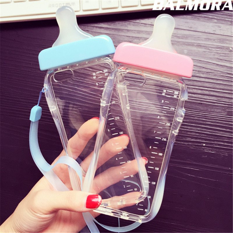 BALMORA Baby Pacifiers Bottle Phone Case For IPhone 5 5s 5c 6 6s Plus Lovely Soft Edge Coque Case For IPhone 7 8 Plus Protective