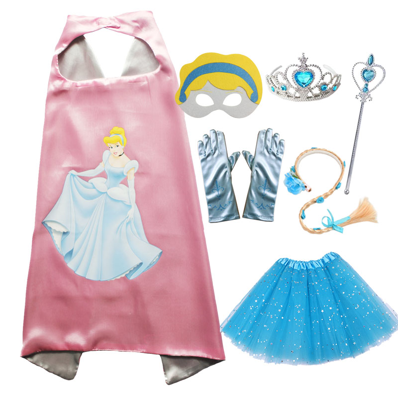 Cinderella Cosplay Cape Mask Tutu Tiara Wand Glove Braid for Girls Halloween Costume for Kids Anime Cosplay