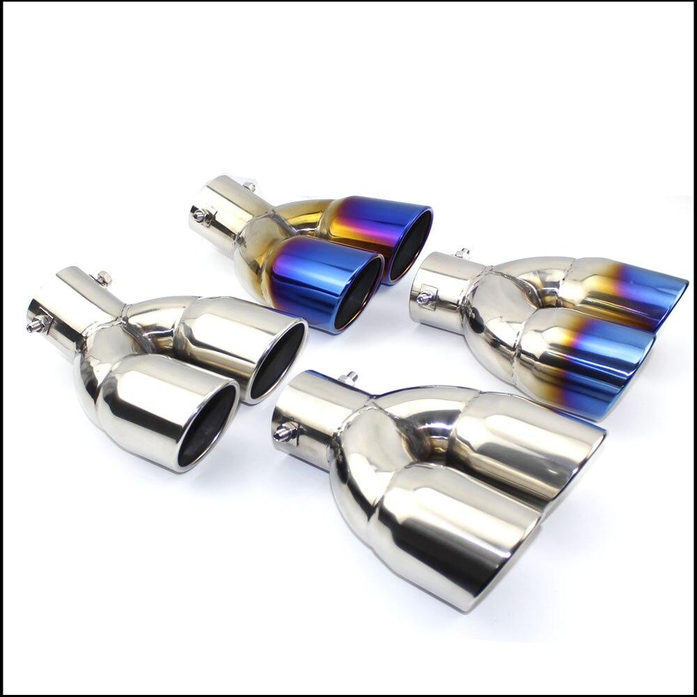 Silenciador de tubo de escape, extremo de boquilla de salida de tubo de escape, extremo plano de acero inoxidable Universal, un cambio, dos salidas dobles, ID 60MM 75MM