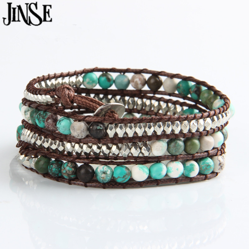 JINSE 2017 New Fashion Bracelets For Women Natural stone Beaded Bracelet 4X Multilayer Bracelet Bangle Luxury Jewlery WPB148