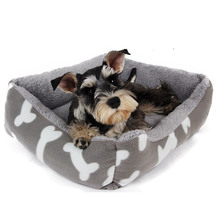 Cute Dog Bed Dual-use Pet Cat Mat Lovely Bone Pattern For Puppy Dog Warm Kennel Sofa Kitten Cat Sleeping Mat Super Warm