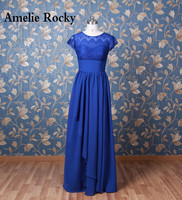 Real Photo Short Sleeves Royal Blue Evening Dresses Long Formal Gowns Party Dress