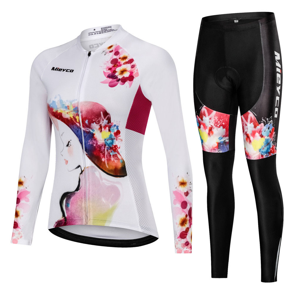 Female Bicycle Clothing Set Reflective Long Sleeve Womens Cycling Jersey Mtb Bike Riding Suit Blike Clothes Girl Sport Wear