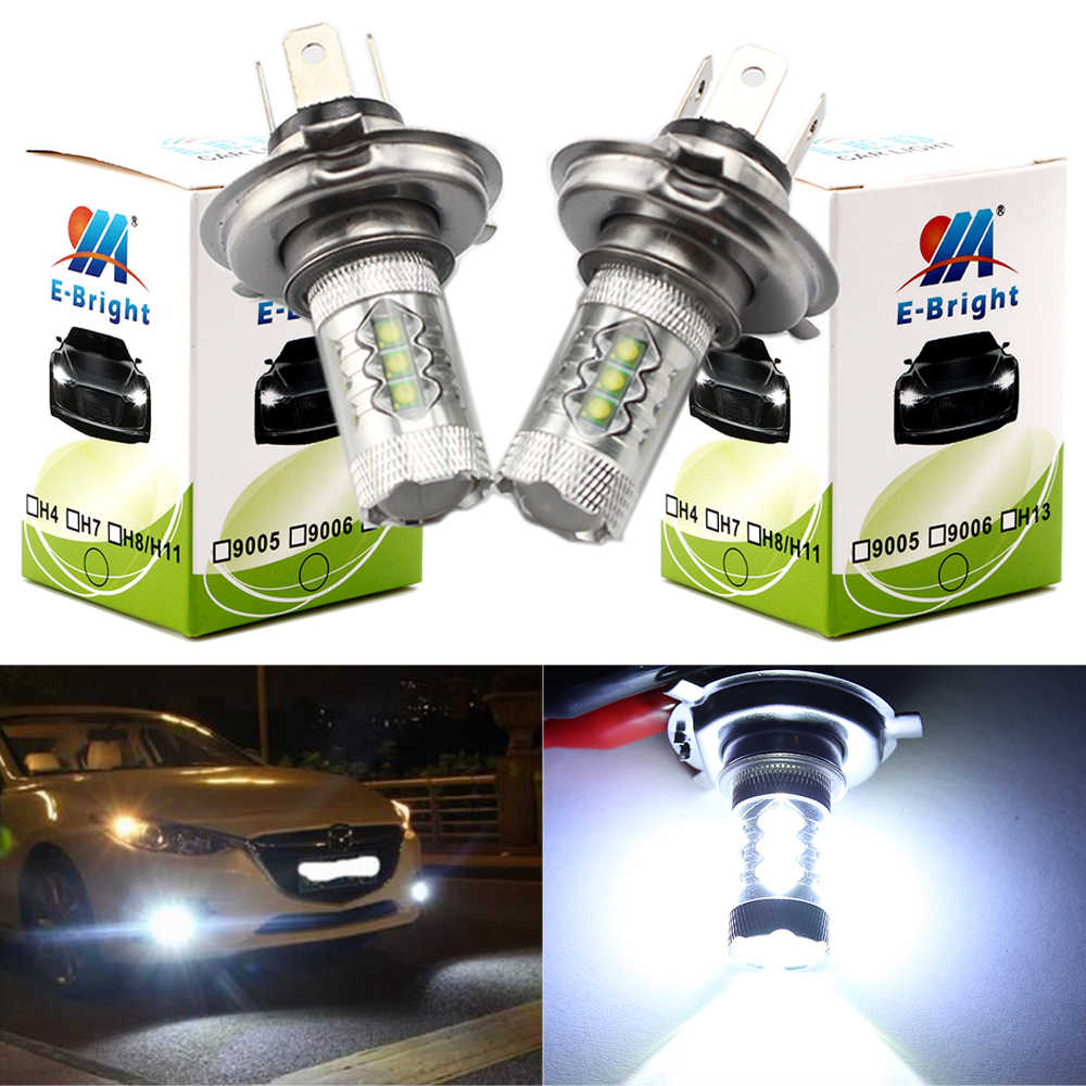 YM E-Bright 2 PCS H4 16 SMD 3535 80W Hi/Lo LED Headlights Fog Lamps Auto Bulbs Fog Lights White Car Styling 12V 24V Nonpolarity