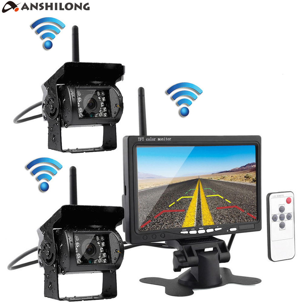 ANSHILONG 7 TFT Color LCD Monitor Wireless Car Rearview System with 2pcs Infrared Weatherproof Cameras