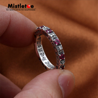 Genuine 100% 925 Sterling Silver Vintage Punk Locomotive Cross Flower Red CZ Ring For Women Men Fashion Jewelry