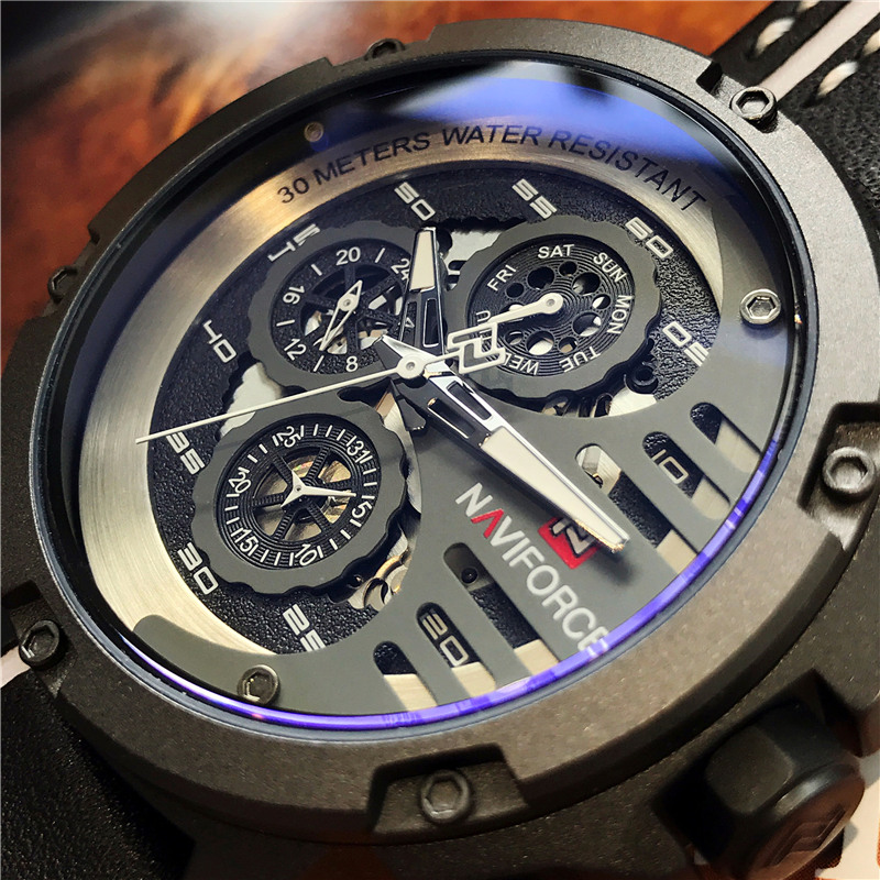 <font><b>Naviforce</b></font> Fashion Multi-function Mens Watch Japanese Seiko Movement Waterproof Leather Watches Top Luxury Brand Gifts For Men image