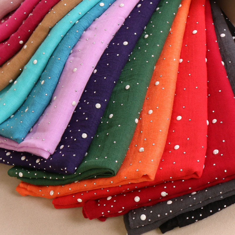 Women s plain Iron beads scarf cotton scarves studs silver pearls scarves muffler headband wrap muslim