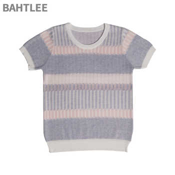 BAHTLEE Summer women T-shirt Tencel Knitted short sleeves ruffles O-neck Pullovers Jumper Computer Knitted Sweaters Multicolor