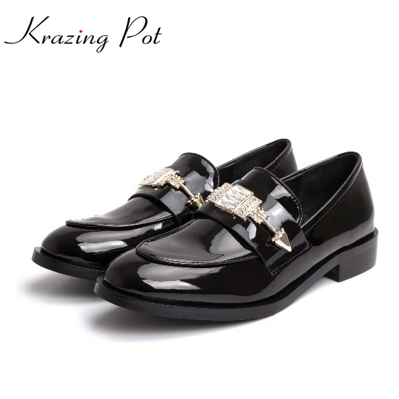 2017 New round toe genuine leather solid colors metal decoration preppy style low heel crystal women