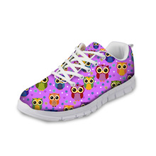 NOISYDESIGNS 2018 Spring Women Flats Shoes Cute Animal Owl 3D Print Comfortable Sneakers Flat Lacing Woman Zapatos