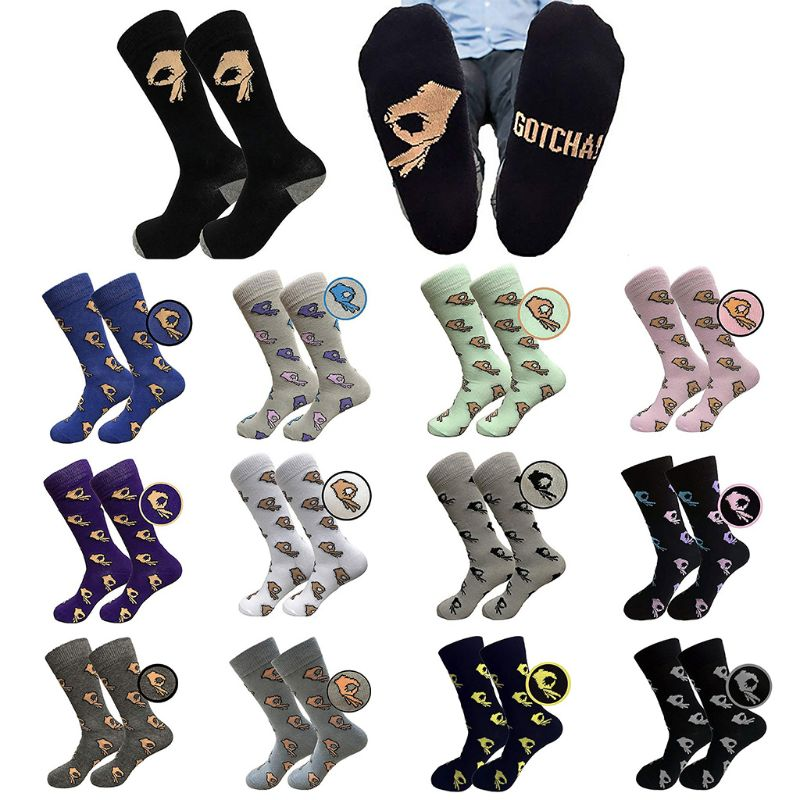 Men Unisex Winter Knitted Mid-calf Long Crew Socks Funny Ok Gesture Printed Hip-hop Trendy Cotton Hosiery Skateboard Streetwear Fine Quality Men's Socks